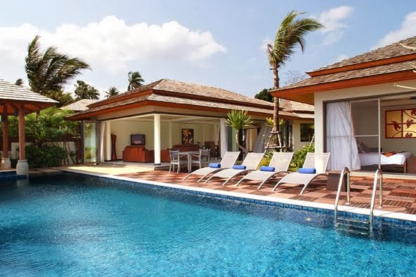 2 Bedroom Option Beach Front Villa with Pool at Bophut Koh Samui Thailand