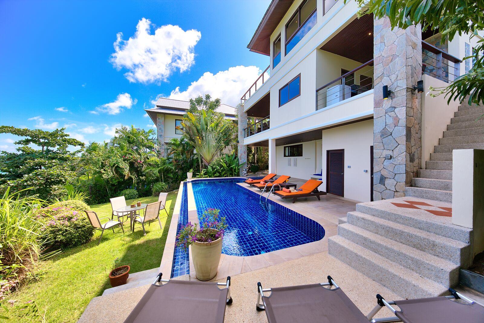 3 Bedroom Option Sea View Villa with Private Pool at Bangrak Koh Samui
