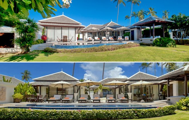 Two 3 Bedroom Side by Side Beach Front Villas at Plai Laem Koh Samui