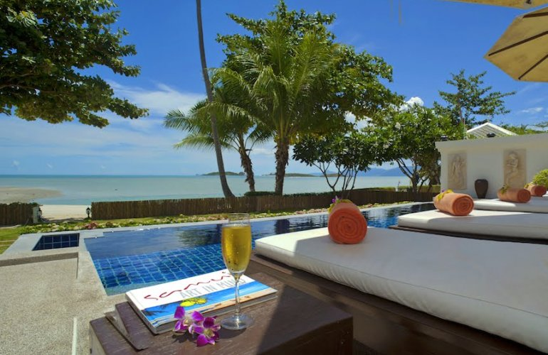 3 Bedroom Beach Front Holiday Villa with Pool at Plai Laem Ko Samui