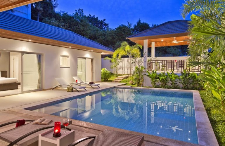 3 bedroom garden villa with pool at choeng mon koh samui for Garden pool villa outrigger koh samui