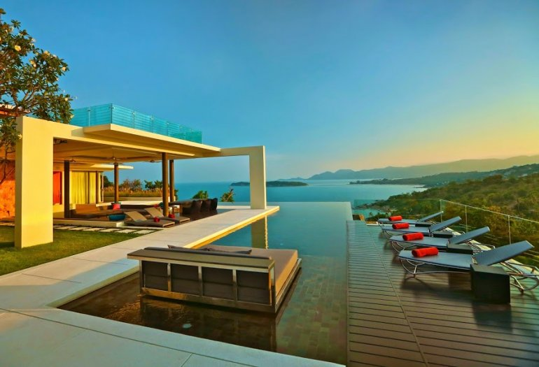 4 Bedroom Sea View Villa with Private Pool at Choeng Mon Samui Thailand